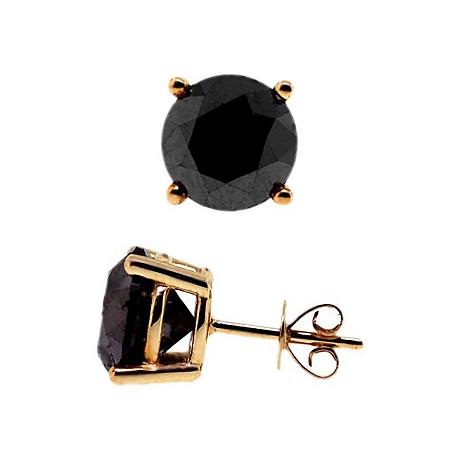 14k Yellow Gold 8 10 Ct Round Black Diamond Stud Earrings