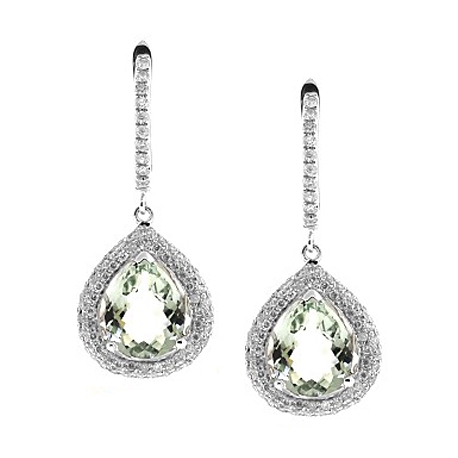 Womens Green Amethyst Diamond Earrings 14K White Gold 7.17 ct