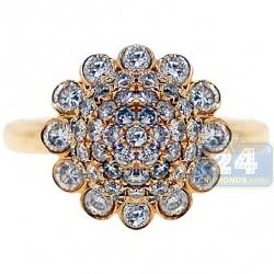 14K Yellow Gold 1.76 ct Diamond Womens Flower Cluster Ring