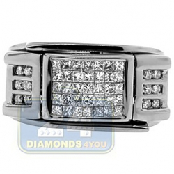 Black PVD 14K Gold 0.85 ct Diamond Mens Signet Ring