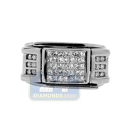 Black PVD 14K Gold 0.85 ct Princess Diamond Mens Signet Ring