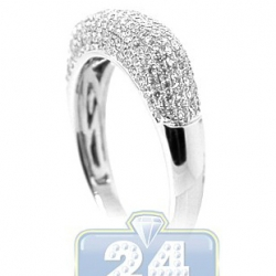 18K White Gold 0.80 ct Diamond Womens Dome Band Ring