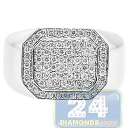 14K White Gold 0.71 ct Diamond Mens Rectangle Signet Ring