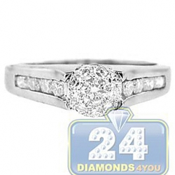 18K White Gold 0.66 ct Diamond Cluster Engagement Ring
