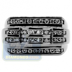 Black PVD 14K Gold 1.02 ct Round Cut Diamond Mens Ring