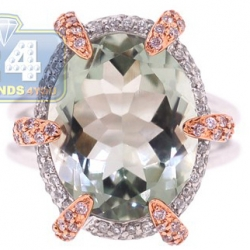 14K White Gold 6.19 ct Green Amethyst Diamond Womens Ring
