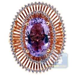 18K Rose Gold 6.17 ct Purple Amethyst Diamond Womens Ring