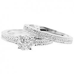 14K White Gold 0.64 ct Diamond Engagement Birdal Ring Set