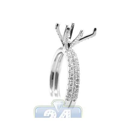 18K White Gold 0.86 ct Diamond Engagement Ring Semi Mount Set
