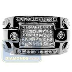 Black PVD 14K Gold 0.98 ct Princess Cut Diamond Mens Ring