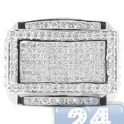 14K White Gold 0.75 ct Round Princess Cut Diamond Mens Signet Ring