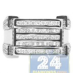 14K White Gold 1.76 ct 5 Rows Diamond Mens Signet Ring