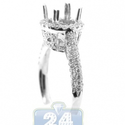 18K White Gold 0.86 ct Diamond Halo Engagement Ring Setting