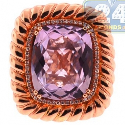 14K Rose Gold 6.95 ct Amethyst Diamond Halo Cocktail Ring