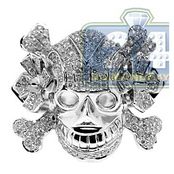 14K White Gold 1.66 ct Diamond Mens Skull Signet Ring