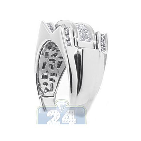 14K White Gold 1 ct Princess Round Cut Diamond Mens Ring