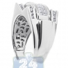 14K White Gold 1 ct Princess Round Cut Diamond Mens Ring