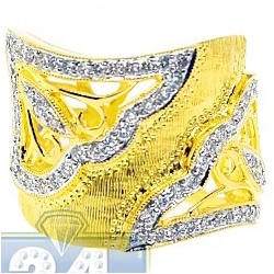 14K Yellow Gold 0.82 ct Diamond Womens Wide Openwork Ring