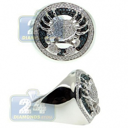 14K White Gold 0.86 ct Blue White Diamond Mens Crab Ring