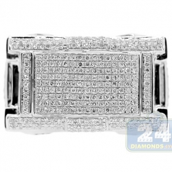 10K White Gold 1.06 ct Diamond Mens Rectangle Signet Ring