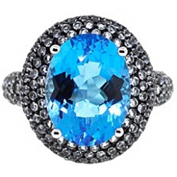 Black PVD 14K Gold 11.80 ct Blue Topaz Womens Cocktail Ring