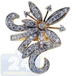 14K Yellow Gold 2.20 ct Diamond Womens Flower Cocktail Ring