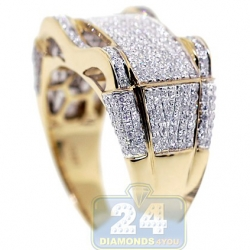 10K Yellow Gold 1.03 ct Diamond Mens Rectangle Ring