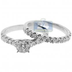14K White Gold 1 ct Diamond Engagement Wedding Rings Set