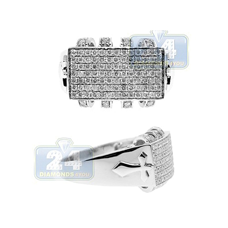 14K White Gold 1.20 ct Diamond Mens Cross Ring Signet