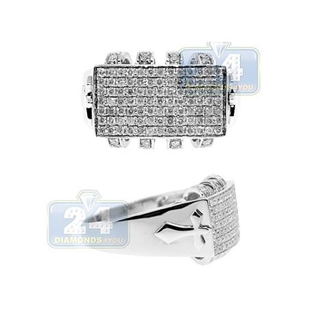 14K White Gold 1.20 ct Diamond Mens Cross Ring Signet