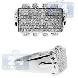 14K White Gold 1.20 ct Diamond Mens Cross Ring