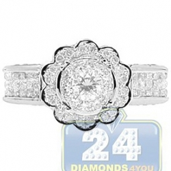 14K White Gold 1.32 ct Diamond Flower Engagement Ring