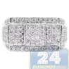 14K White Gold 1.10 ct Round Cut Diamond Mens Rectangle Signet Ring