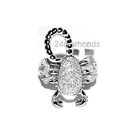 14K White Gold 1.41 ct Diamond Mens Scorpion Ring