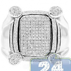 14K White Gold 0.88 ct Round Cut Diamond Mens Ring