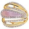 14K Yellow Gold 1.55 ct Diamond Opal Womens Openwork Ring