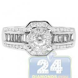 14K White Gold 1.25 ct Diamond Cluster Vintage Engagement Ring