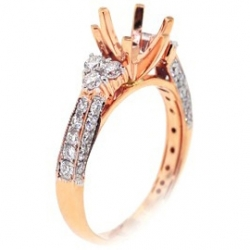 14K Rose Gold 0.89 ct Diamond Semi Mount Engagement Ring