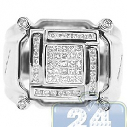 14K White Gold 0.67 ct Princess Round Cut Diamond Mens Ring