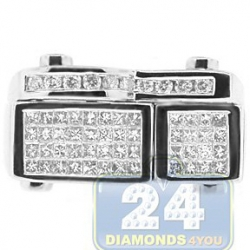 14K White Gold 1.13 ct Princess Diamond Mens Rectangle Ring