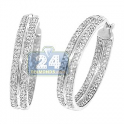 14K White Gold 1.10 ct Diamond Womens Double Hoop Earrings