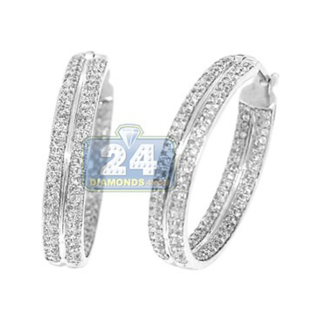 Womens Diamond Double Round Hoop Earrings 14K White Gold 1.10 ct