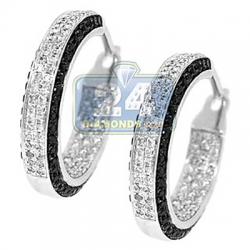 14K White Gold 1.20 ct Iced Out Diamond Round Hoop Earrings