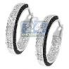 Womens Round Diamond Round Hoop Earrings 14K White Gold 1.20 ct