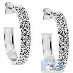 Womens 3 Row Diamond Oval J Hoop Earrings 14K White Gold 1 Inch