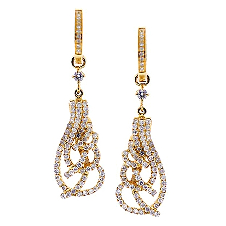 Womens Diamond Openwork Dangle Earrings 14K Yellow Gold 1.07 ct