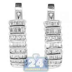 14K White Gold 1.50 ct Channel Set Diamond Huggie Earrings