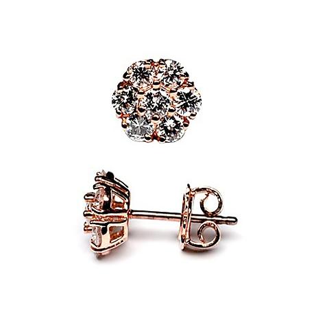 ae1c43f67d37b 14K Rose Gold 1.50 ct Diamond Cluster Womens Stud Earrings