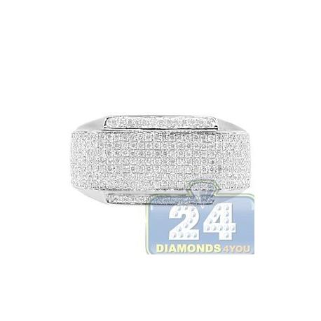 14K White Gold 0.84 ct Pave Diamond Mens Rectangle Ring