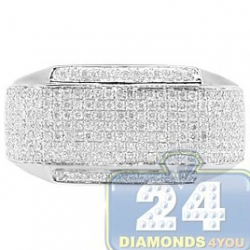 14K White Gold 0.84 ct Pave Diamond Mens Rectangle Ring